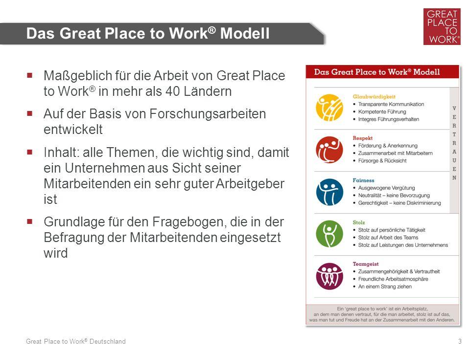 Great Place to Work ® Deutschland 3  Maßgeblich für die Arbeit von Great Place to Work ® in mehr als 40 Ländern  Auf der Basis von Forschungsarbeiten entwickelt  Inhalt: alle Themen, die wichtig sind, damit ein Unternehmen aus Sicht seiner Mitarbeitenden ein sehr guter Arbeitgeber ist  Grundlage für den Fragebogen, die in der Befragung der Mitarbeitenden eingesetzt wird Das Great Place to Work ® Modell