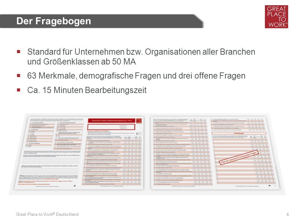 Great Place to Work ® Deutschland 4  Standard für Unternehmen bzw. Organisationen aller Branchen und Größenklassen ab 50 MA  63 Merkmale, demografis