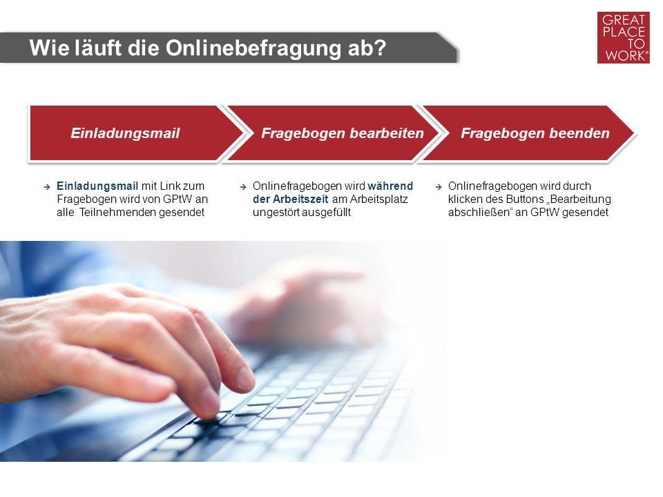 EinladungsmailFragebogen bearbeitenFragebogen beenden  Einladungsmail mit Link zum Fragebogen wird von GPtW an alle Teilnehmenden gesendet  Onlinefr