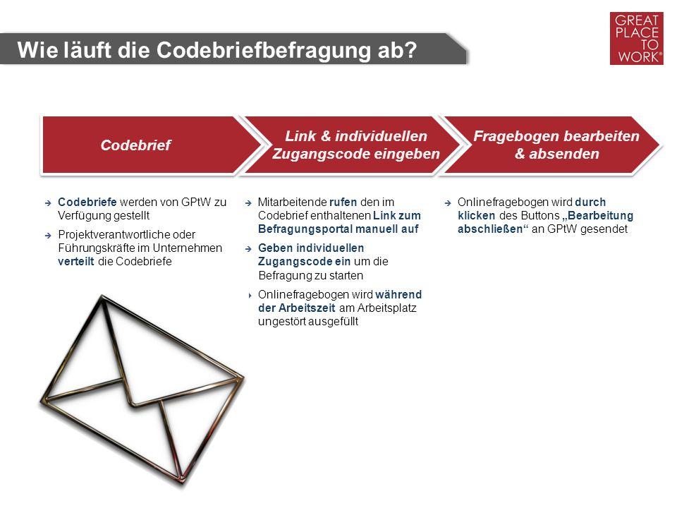 Codebrief Link & individuellen Zugangscode eingeben Fragebogen bearbeiten & absenden  Codebriefe werden von GPtW zu Verfügung gestellt  Projektveran