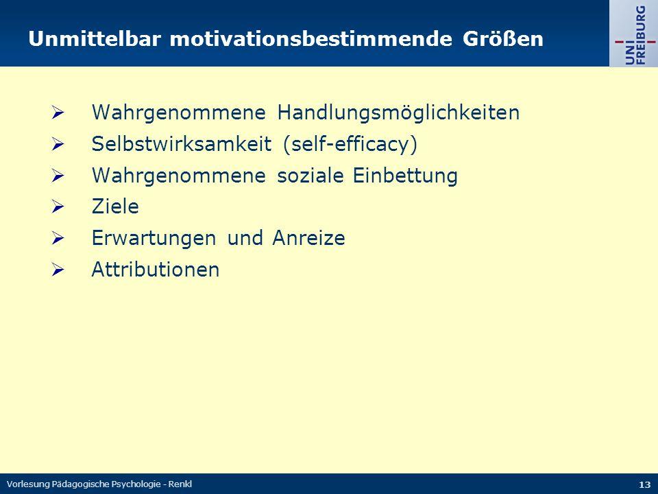 Vorlesung Pädagogische Psychologie - Renkl 13 Unmittelbar motivationsbestimmende Größen  Wahrgenommene Handlungsmöglichkeiten  Selbstwirksamkeit (se