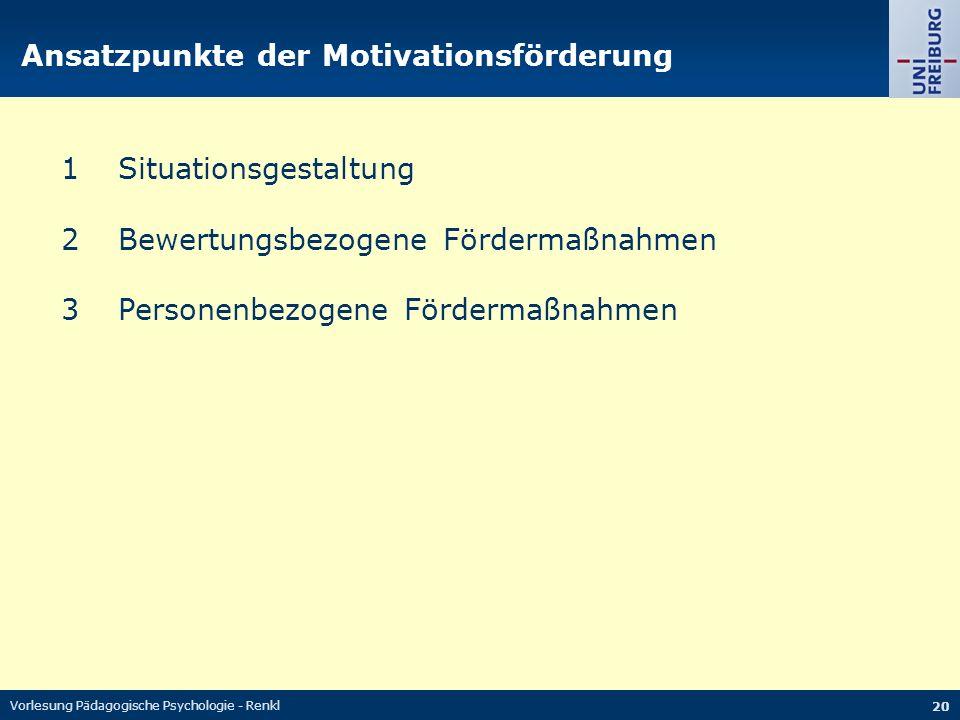 Vorlesung Pädagogische Psychologie - Renkl 20 Ansatzpunkte der Motivationsförderung 1Situationsgestaltung 2Bewertungsbezogene Fördermaßnahmen 3Persone