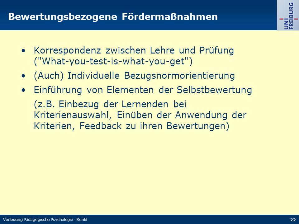 Vorlesung Pädagogische Psychologie - Renkl 22 Bewertungsbezogene Fördermaßnahmen Korrespondenz zwischen Lehre und Prüfung (