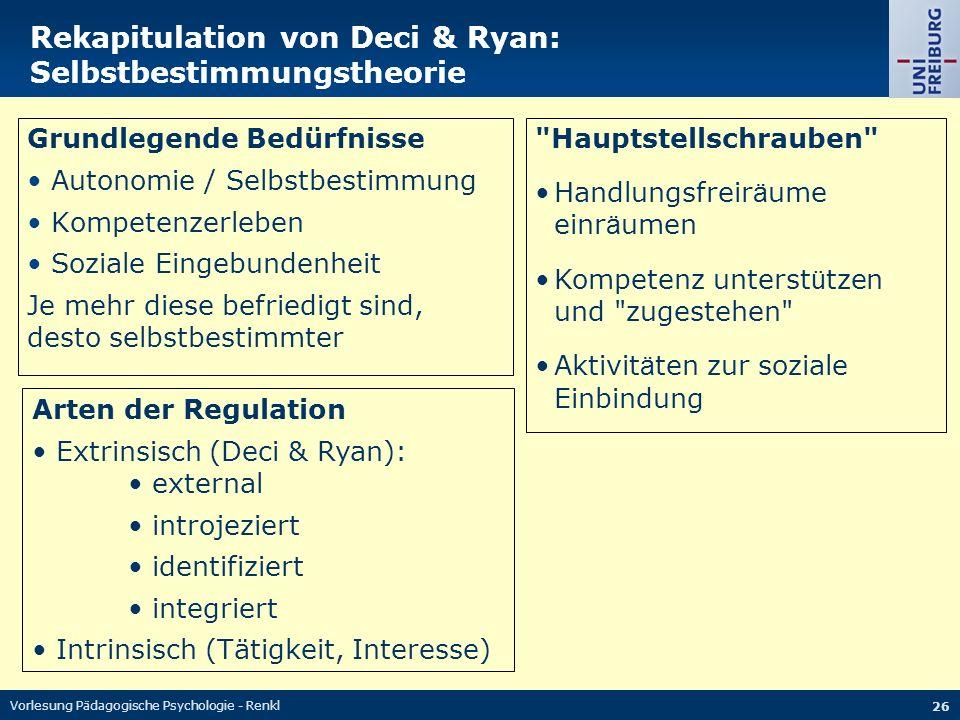 Vorlesung Pädagogische Psychologie - Renkl 26 Rekapitulation von Deci & Ryan: Selbstbestimmungstheorie Grundlegende Bedürfnisse Autonomie / Selbstbest