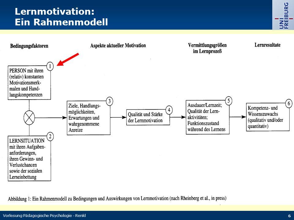 Vorlesung Pädagogische Psychologie - Renkl 27 Lernziele Antworten auf die folgenden Fragen: Was ist Lernmotivation.
