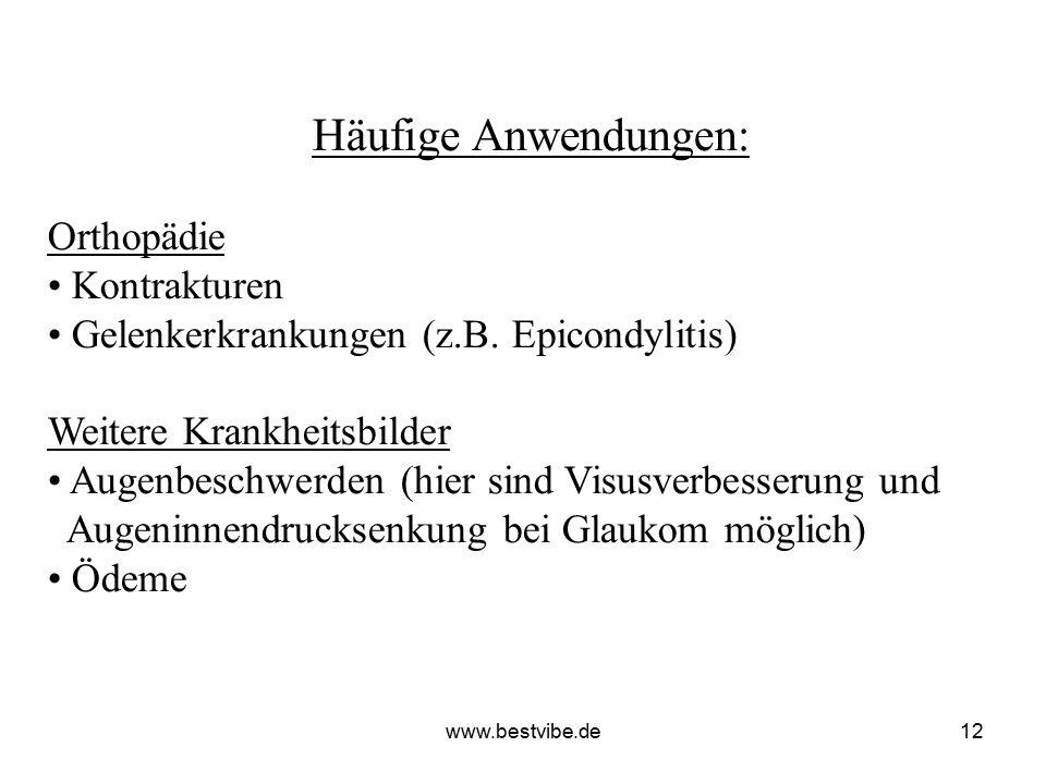 www.bestvibe.de11 Häufige Anwendungen: Neuroorthopädie Schmerzbehandlung (Phantom- und Stumpfschmerzen, Migräne) Dermatologie Sklerodermie Narbenbildu