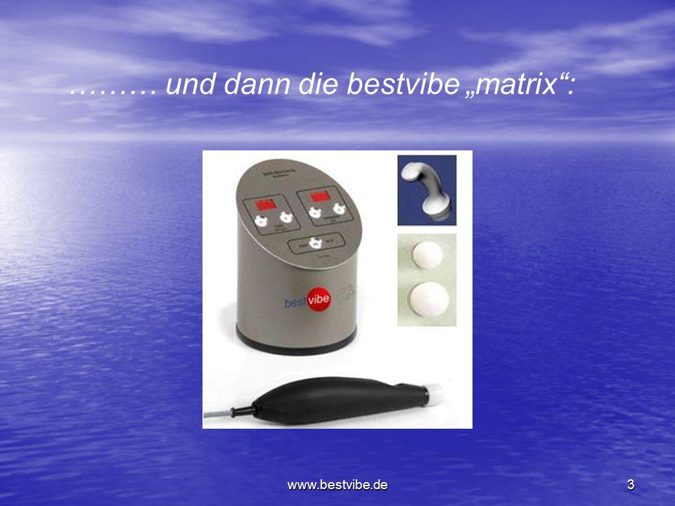 www.bestvibe.de13 Frequenz-Einsatzbereiche: 18 bis 22 Hz Einfluss auf das lymphatische System (Entstauung) 22 bis 24 Hz Aufwärmphase, Durchblutungsverbesserung 24 bis 26 Hz Muskelaufbau, Nervenstimulation 26 Hz Muskeldehnung 26 bis 28 Hz Lösen von Spastiken, auch 20 Hz geeignet, je nach Spastik 27 bis 30 Hz Schmerzreduktion 27 Hz Akuter Lumbago 28 bis 30 Hz Einfluss auf des ZNS, Schmerzablenkungseffekt Je nach Tagesform des Patienten sollten die Frequenzen entsprechend geändert oder angepasst werden.