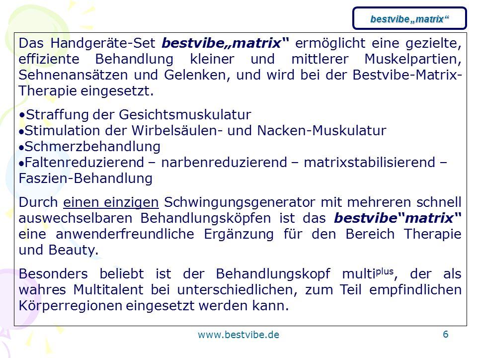 """www.bestvibe.de 6 Das Handgeräte-Set bestvibe""""matrix ermöglicht eine gezielte, effiziente Behandlung kleiner und mittlerer Muskelpartien, Sehnenansätzen und Gelenken, und wird bei der Bestvibe-Matrix- Therapie eingesetzt."""