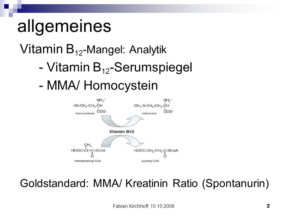 Fabian Kirchhoff, 10.10.20092 allgemeines Vitamin B 12 -Mangel: Analytik - Vitamin B 12 -Serumspiegel - MMA/ Homocystein Goldstandard: MMA/ Kreatinin