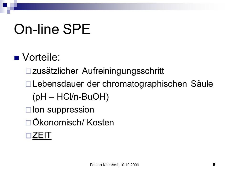 Fabian Kirchhoff, 10.10.20095 On-line SPE Vorteile:  zusätzlicher Aufreiningungsschritt  Lebensdauer der chromatographischen Säule (pH – HCl/n-BuOH)