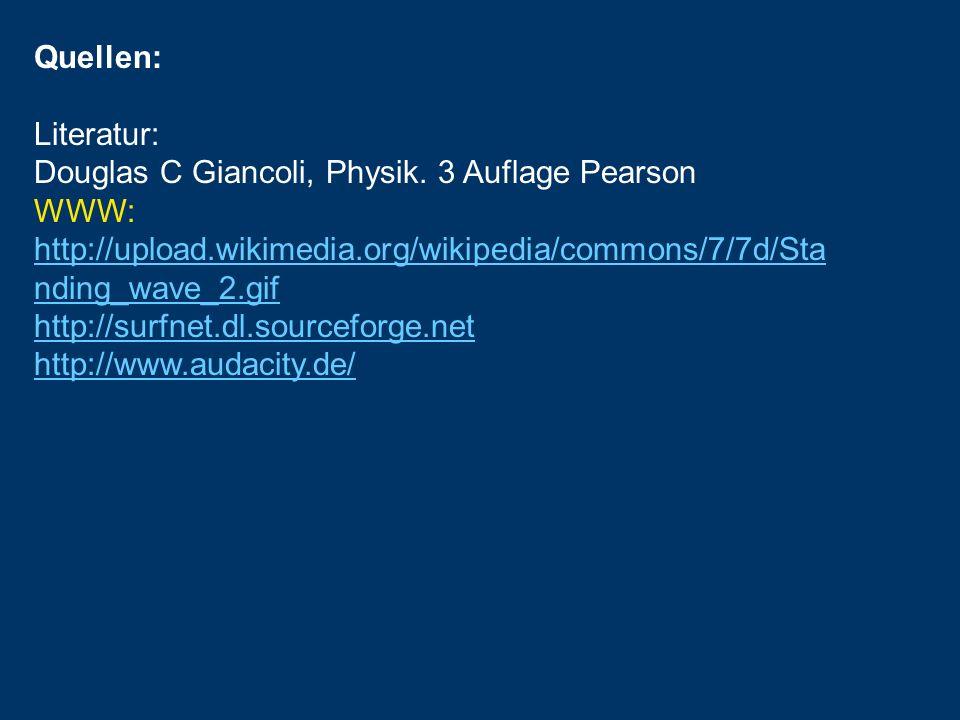 Quellen: Literatur: Douglas C Giancoli, Physik. 3 Auflage Pearson WWW: http://upload.wikimedia.org/wikipedia/commons/7/7d/Sta nding_wave_2.gif http://
