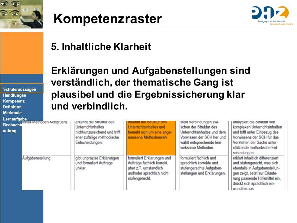 Schüleraussagen Handlungss Kompetenz Definition Merkmale Lernaufgabe Beobachtungs- auftrag Kompetenzraster 5.