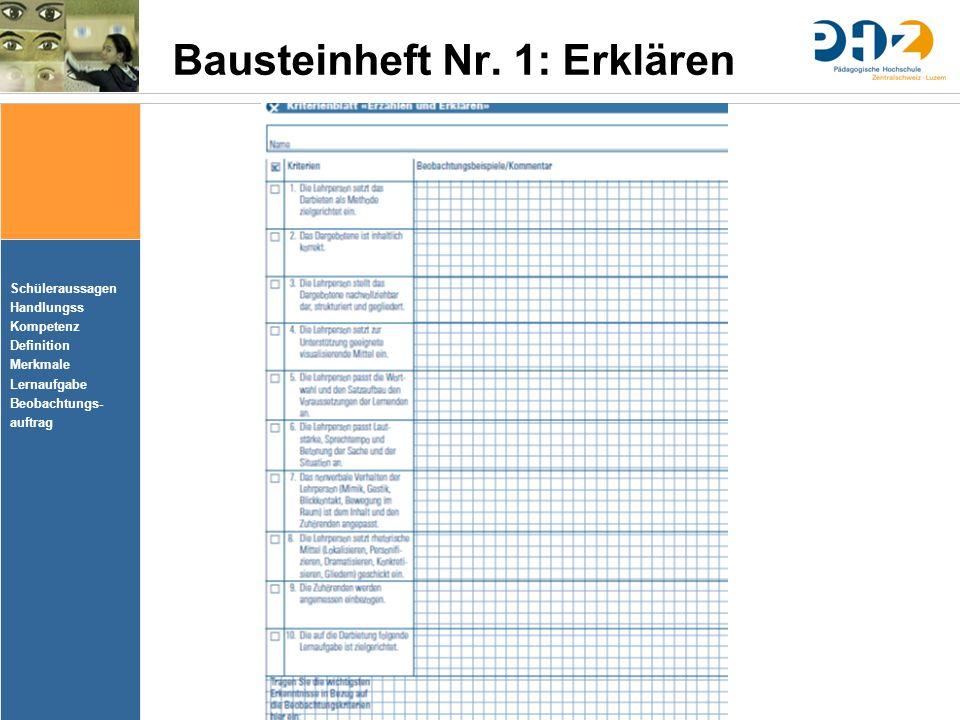 Schüleraussagen Handlungss Kompetenz Definition Merkmale Lernaufgabe Beobachtungs- auftrag Bausteinheft Nr.