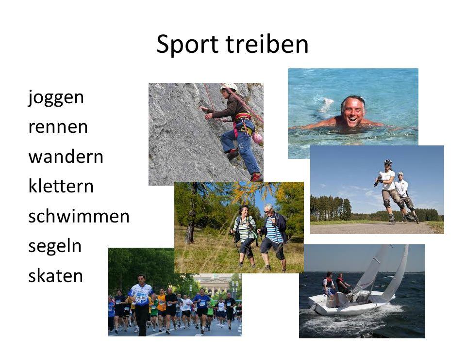 Sport treiben joggen rennen wandern klettern schwimmen segeln skaten