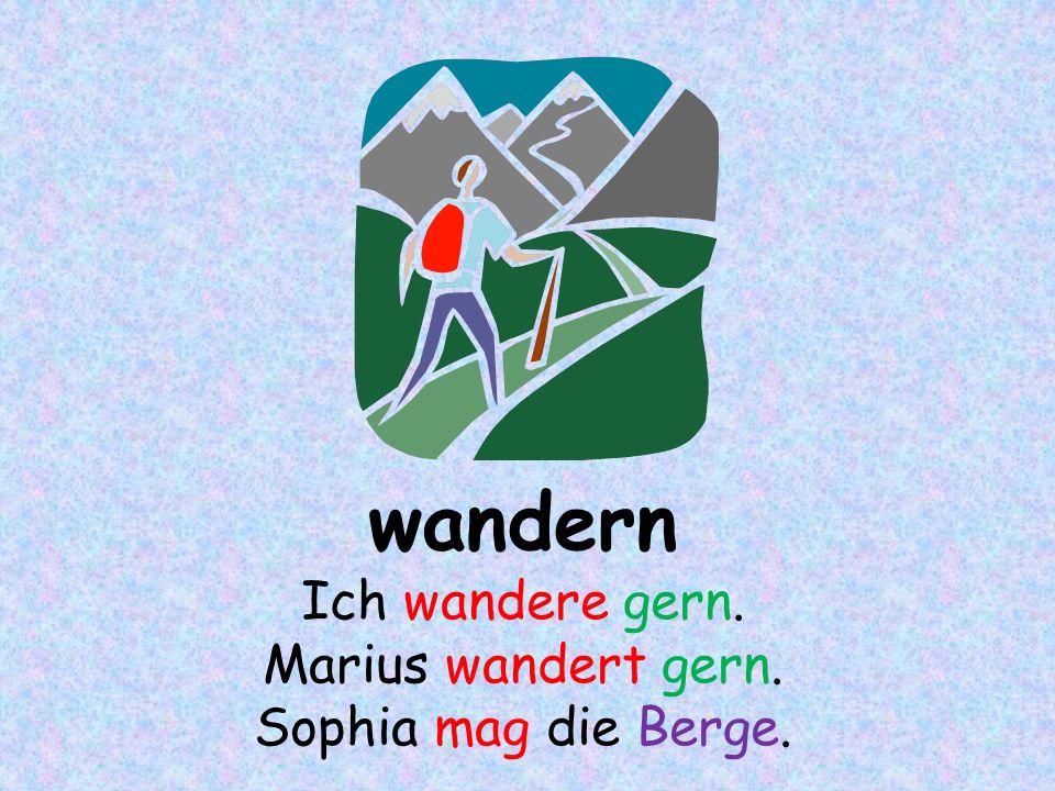 wandern Ich wandere gern. Marius wandert gern. Sophia mag die Berge.
