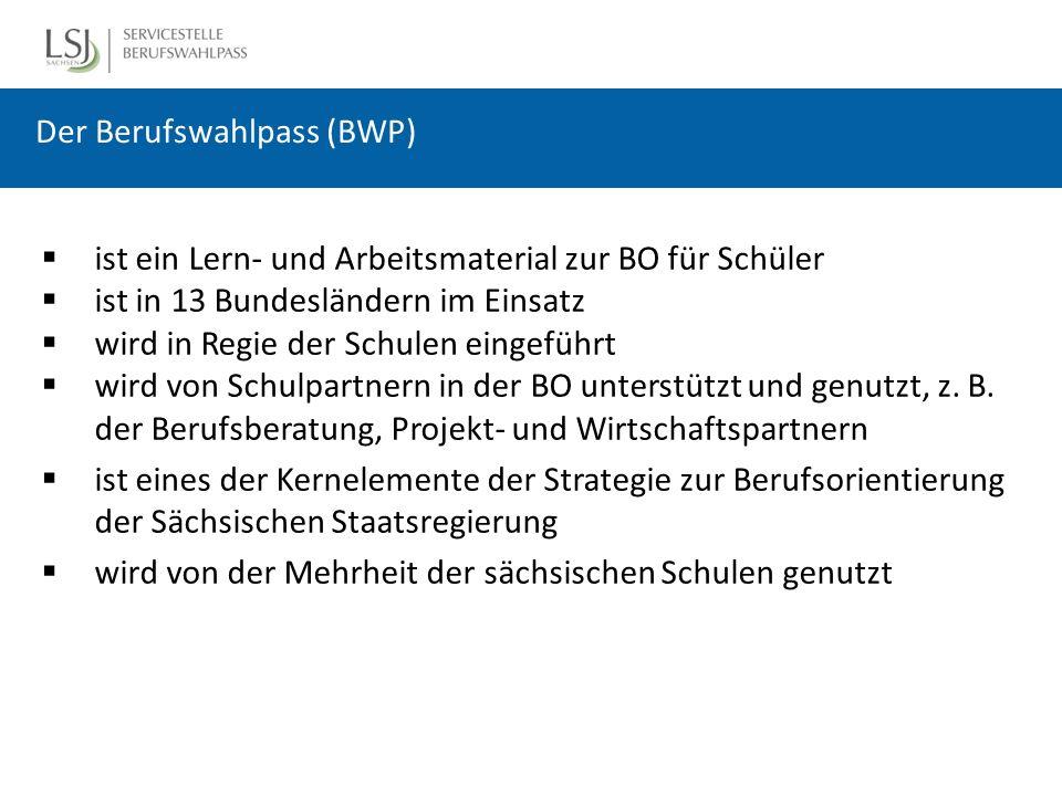 Der Berufswahlpass (BWP)  ist ein Lern- und Arbeitsmaterial zur BO für Schüler  ist in 13 Bundesländern im Einsatz  wird in Regie der Schulen eingeführt  wird von Schulpartnern in der BO unterstützt und genutzt, z.