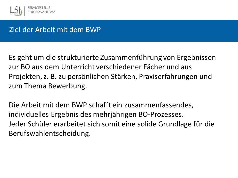 Ziel der Arbeit mit dem BWP Es geht um die strukturierte Zusammenführung von Ergebnissen zur BO aus dem Unterricht verschiedener Fächer und aus Projekten, z.