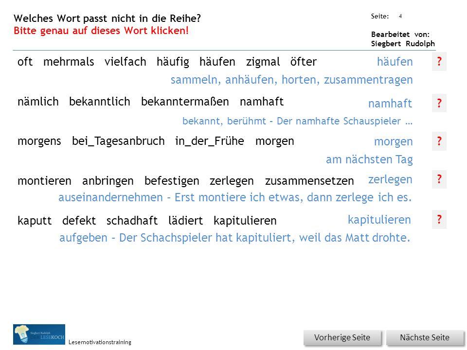 Übungsart: Seite: Bearbeitet von: Siegbert Rudolph Lesemotivationstraining 3 Wortschatz – Was passt zusammen? Bitte erst auf ein Kästchen von 1-5 und