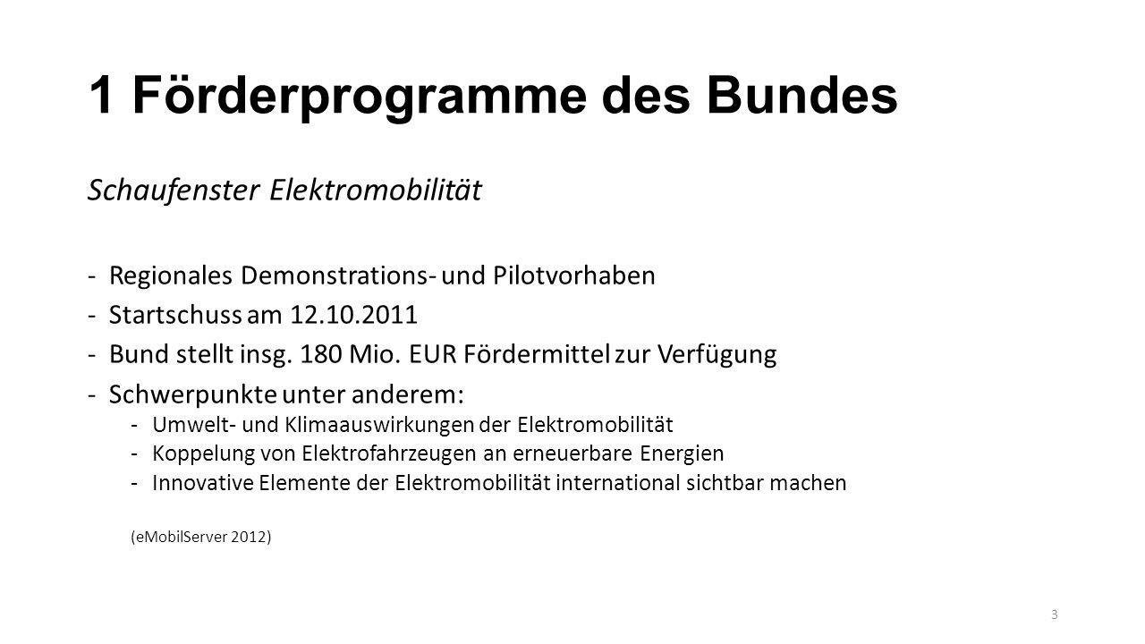 1 Förderprogramme des Bundes Schaufenster Elektromobilität -Regionales Demonstrations- und Pilotvorhaben -Startschuss am 12.10.2011 -Bund stellt insg.