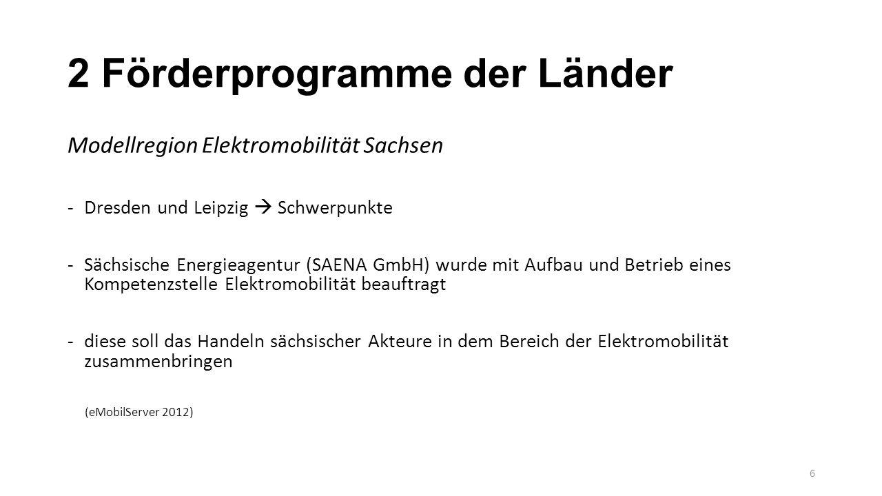 2 Förderprogramme der Länder Modellregion Elektromobilität Sachsen -Dresden und Leipzig  Schwerpunkte -Sächsische Energieagentur (SAENA GmbH) wurde m