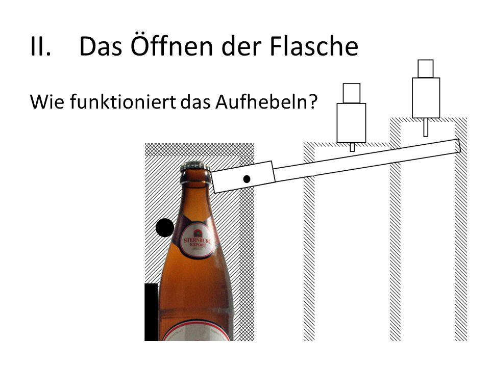 II.Das Öffnen der Flasche Wie funktioniert das Aufhebeln