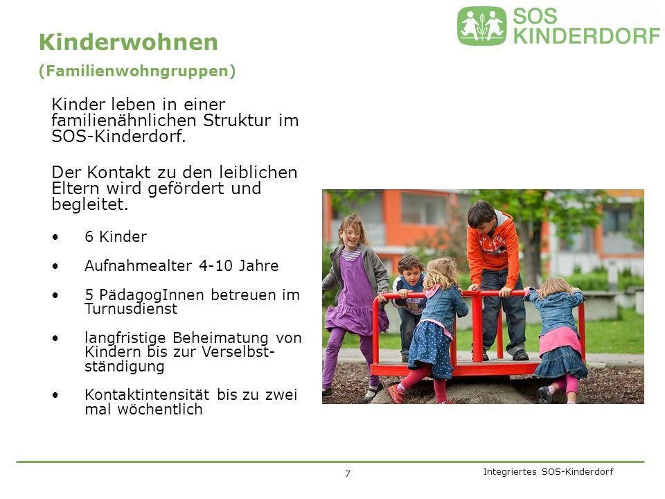 Integriertes SOS-Kinderdorf (Familienwohngruppen) Kinder leben in einer familienähnlichen Struktur im SOS-Kinderdorf.