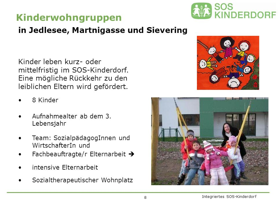 Integriertes SOS-Kinderdorf Für Kinder mit psychischen Auffälligkeiten und besonders hohem Betreuungsbedarf 6 Kinder ab dem 8.