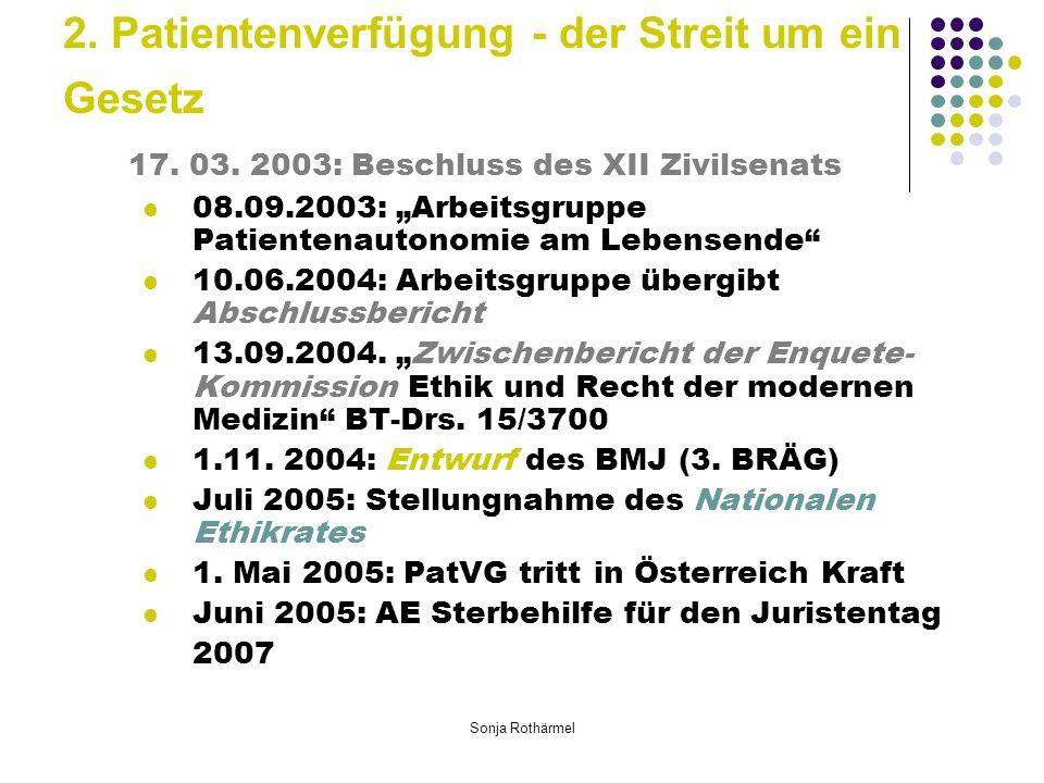 Sonja Rothärmel 2. Patientenverfügung - der Streit um ein Gesetz 17.