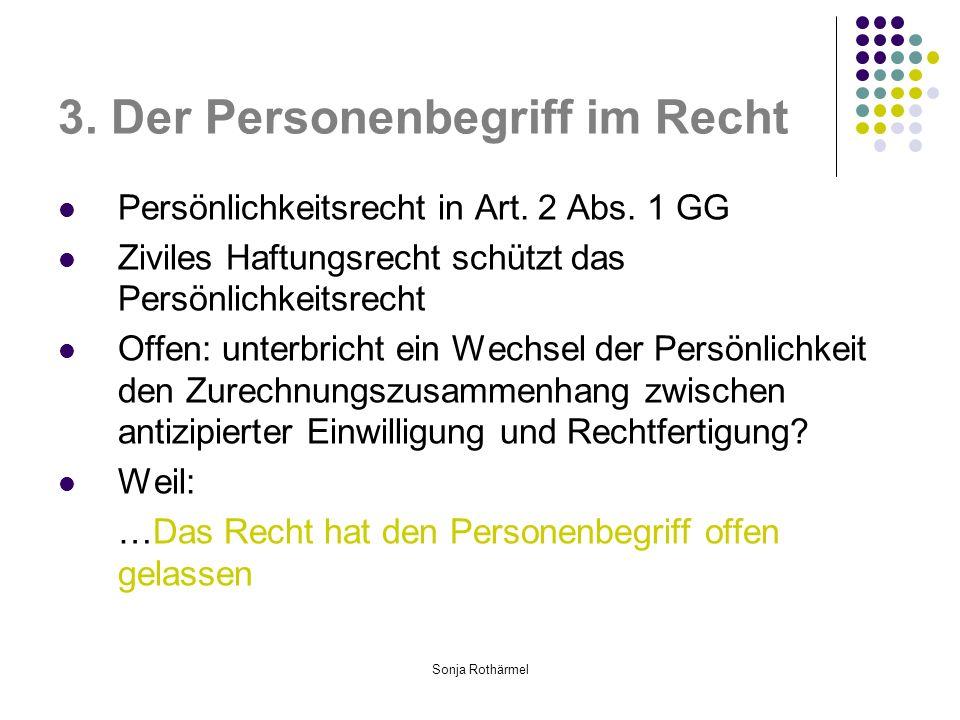 Sonja Rothärmel 3.Der Personenbegriff im Recht Persönlichkeitsrecht in Art.