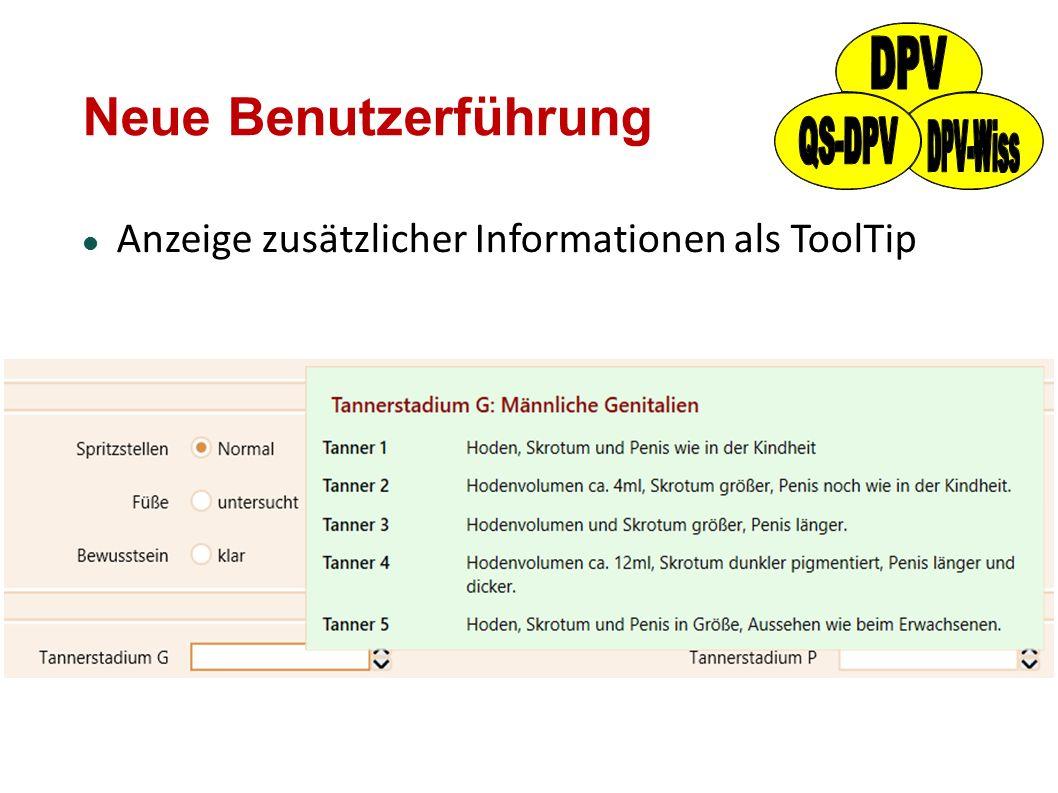 Neue Benutzerführung Anzeige zusätzlicher Informationen als ToolTip