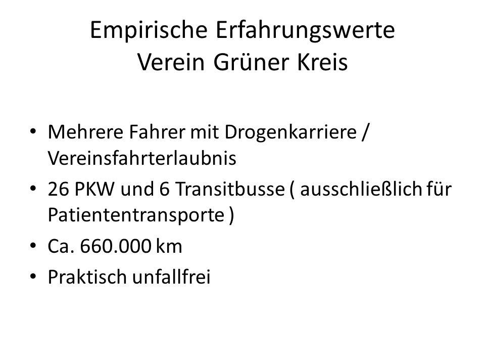 Empirische Erfahrungswerte Verein Grüner Kreis Mehrere Fahrer mit Drogenkarriere / Vereinsfahrterlaubnis 26 PKW und 6 Transitbusse ( ausschließlich für Patiententransporte ) Ca.