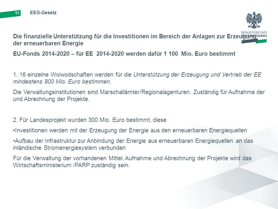 13 EEG-Gesetz Die finanzielle Unterstützung für die Investitionen im Bereich der Anlagen zur Erzeugung der erneuerbaren Energie EU-Fonds 2014-2020 – für EE 2014-2020 werden dafür 1 100 Mio.