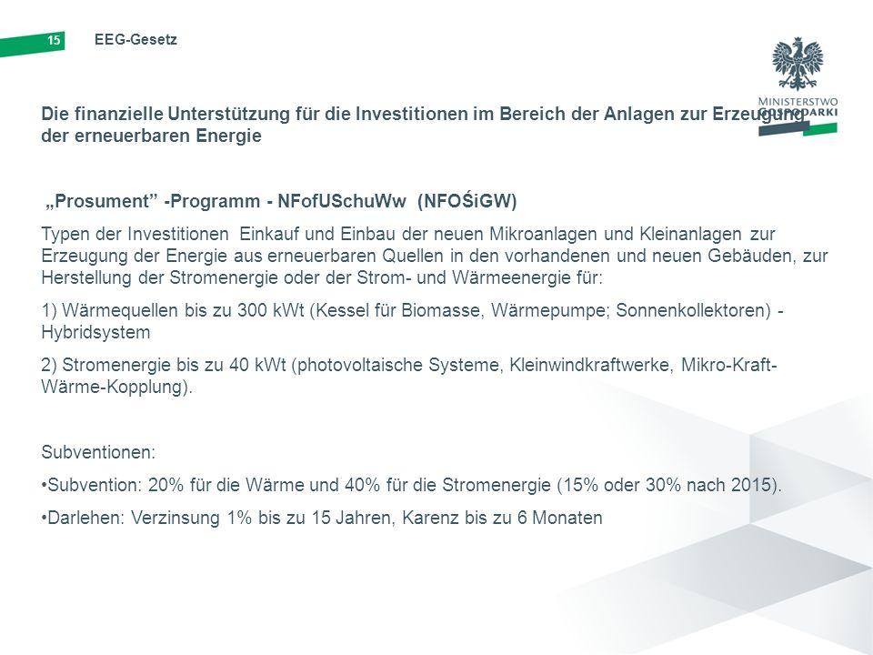 """15 EEG-Gesetz Die finanzielle Unterstützung für die Investitionen im Bereich der Anlagen zur Erzeugung der erneuerbaren Energie """"Prosument -Programm - NFofUSchuWw (NFOŚiGW) Typen der Investitionen Einkauf und Einbau der neuen Mikroanlagen und Kleinanlagen zur Erzeugung der Energie aus erneuerbaren Quellen in den vorhandenen und neuen Gebäuden, zur Herstellung der Stromenergie oder der Strom- und Wärmeenergie für: 1) Wärmequellen bis zu 300 kWt (Kessel für Biomasse, Wärmepumpe; Sonnenkollektoren) - Hybridsystem 2) Stromenergie bis zu 40 kWt (photovoltaische Systeme, Kleinwindkraftwerke, Mikro-Kraft- Wärme-Kopplung)."""