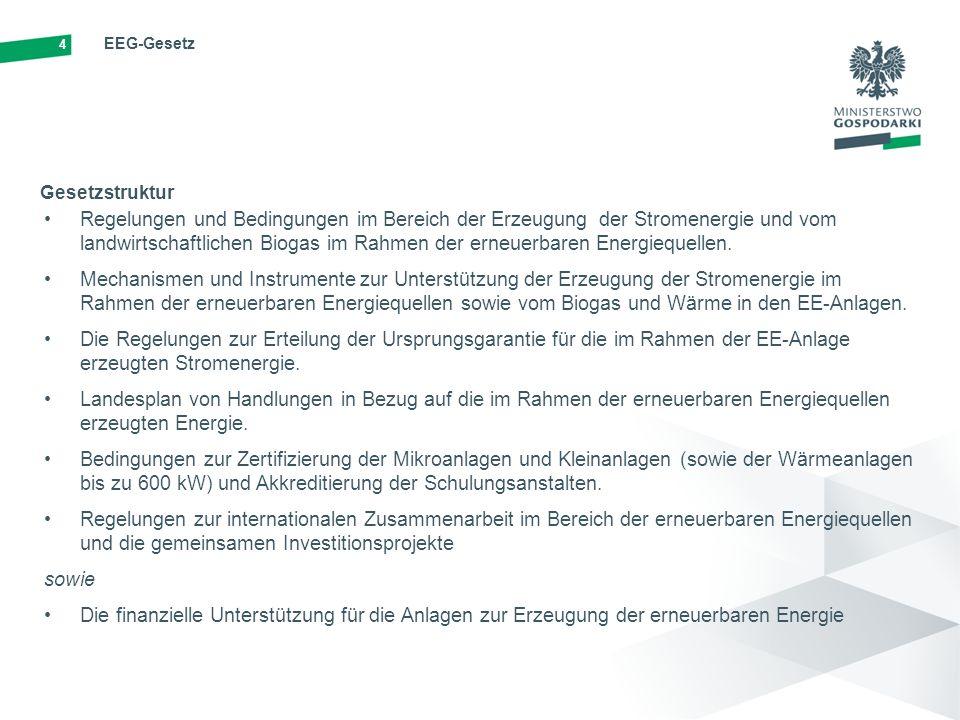 4 EEG-Gesetz Regelungen und Bedingungen im Bereich der Erzeugung der Stromenergie und vom landwirtschaftlichen Biogas im Rahmen der erneuerbaren Energiequellen.