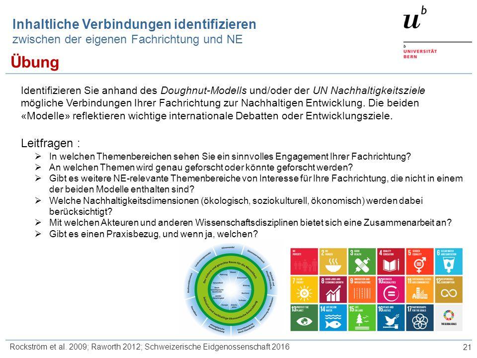21 Inhaltliche Verbindungen identifizieren zwischen der eigenen Fachrichtung und NE Identifizieren Sie anhand des Doughnut-Modells und/oder der UN Nachhaltigkeitsziele mögliche Verbindungen Ihrer Fachrichtung zur Nachhaltigen Entwicklung.