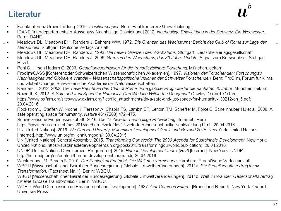 31  Fachkonferenz Umweltbildung. 2010. Positionspapier.