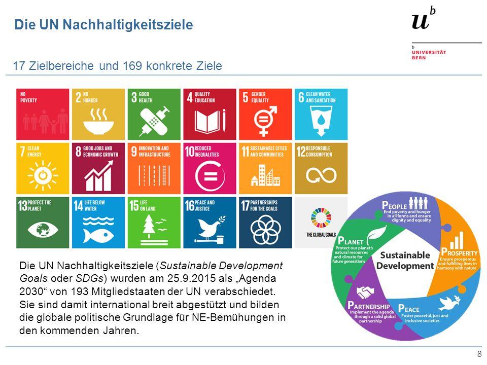 """Die UN Nachhaltigkeitsziele 8 17 Zielbereiche und 169 konkrete Ziele Die UN Nachhaltigkeitsziele (Sustainable Development Goals oder SDGs) wurden am 25.9.2015 als """"Agenda 2030 von 193 Mitgliedstaaten der UN verabschiedet."""