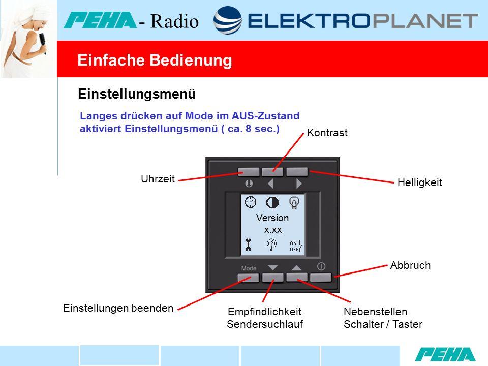 Einstellungsmenü Helligkeit Uhrzeit Kontrast Nebenstellen Schalter / Taster Einstellungen beenden Version x.xx Einfache Bedienung - Radio Langes drücken auf Mode im AUS-Zustand aktiviert Einstellungsmenü ( ca.