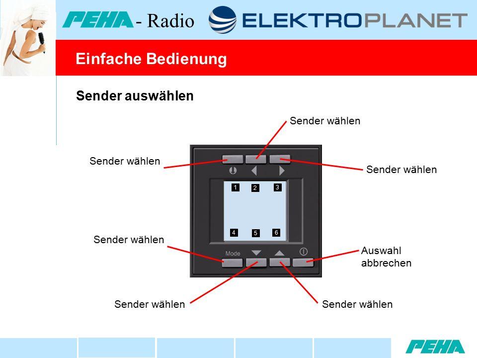 Sender auswählen Sender wählen Auswahl abbrechen Sender wählen 1 2 3 4 5 6 Einfache Bedienung - Radio