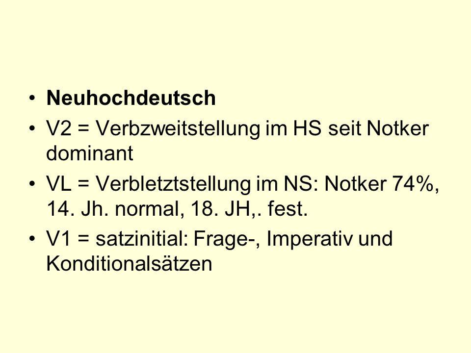Neuhochdeutsch V2 = Verbzweitstellung im HS seit Notker dominant VL = Verbletztstellung im NS: Notker 74%, 14.