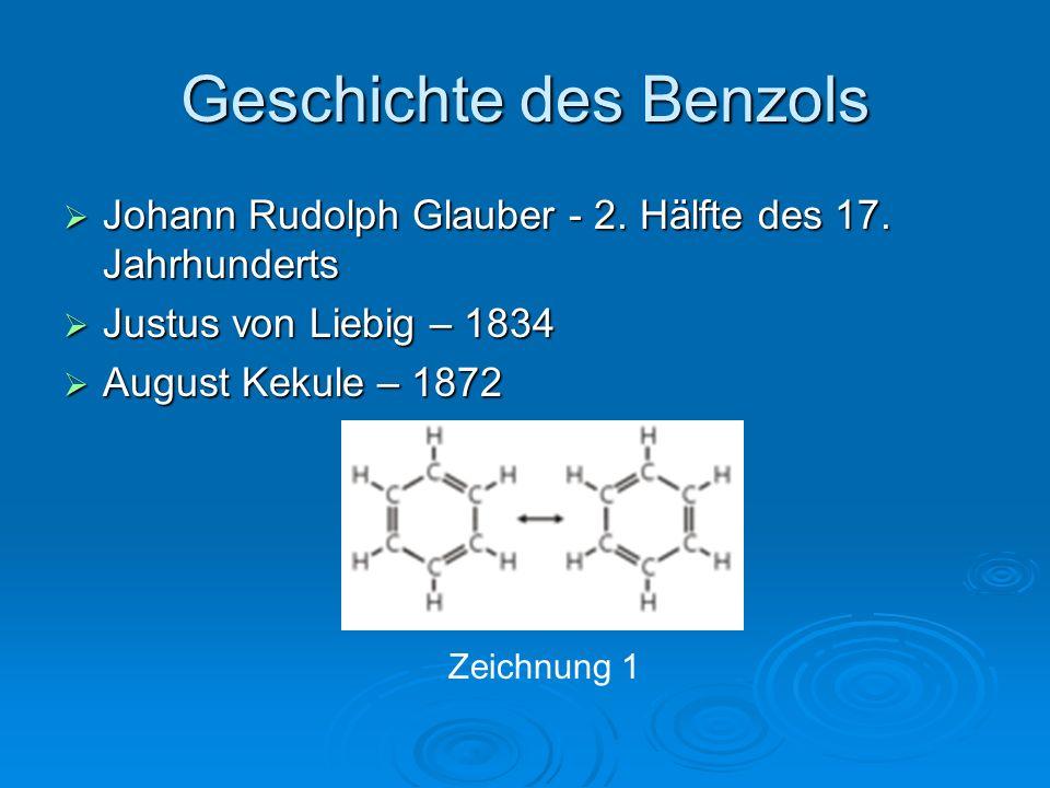 Geschichte des Benzols  Johann Rudolph Glauber - 2. Hälfte des 17. Jahrhunderts  Justus von Liebig – 1834  August Kekule – 1872 Zeichnung 1