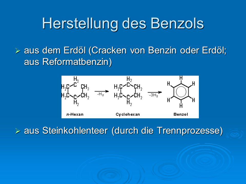 Herstellung des Benzols  aus dem Erdöl (Cracken von Benzin oder Erdöl; aus Reformatbenzin)  aus Steinkohlenteer (durch die Trennprozesse)