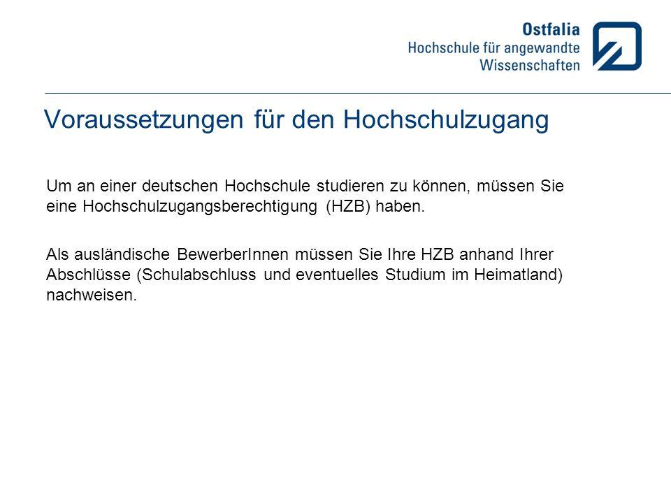 Voraussetzungen für den Hochschulzugang Um an einer deutschen Hochschule studieren zu können, müssen Sie eine Hochschulzugangsberechtigung (HZB) haben.
