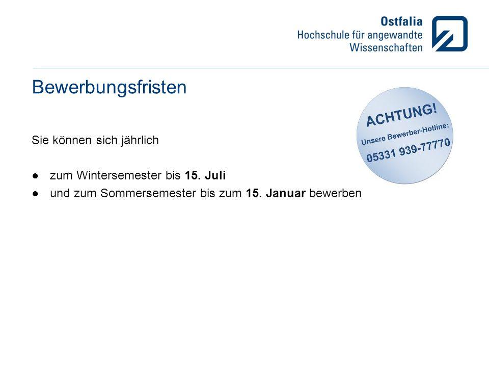 Kosten für das Studium Semesterbeitrag: Wolfenbüttel und Wolfsburg: 315,43 € Suderburg: 282,44 € Salzgitter: 231,93 € Inkl.