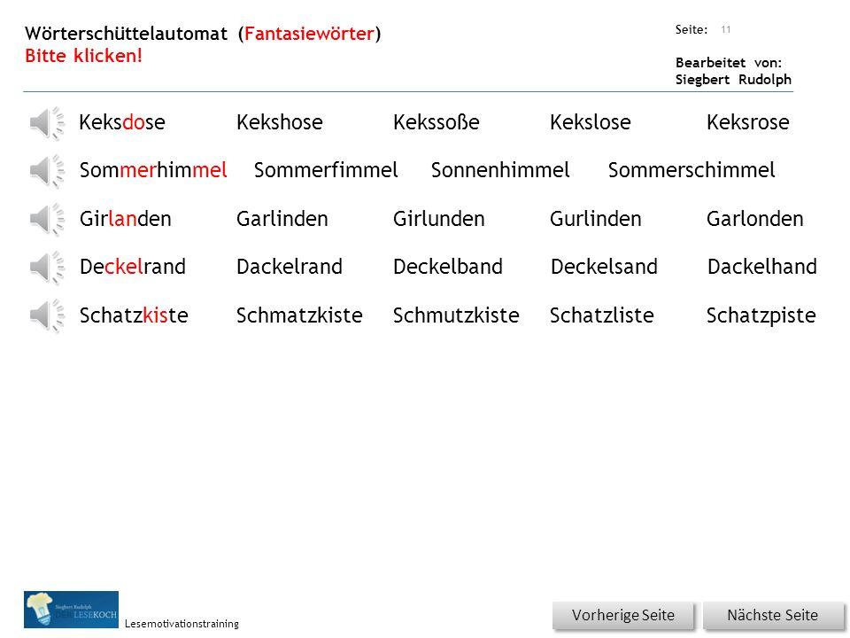 Übungsart: Seite: Bearbeitet von: Siegbert Rudolph Lesemotivationstraining 10 Nächste Seite Vorherige Seite Wörtertraining – mehrsilbige Wörter Bitte klicken.