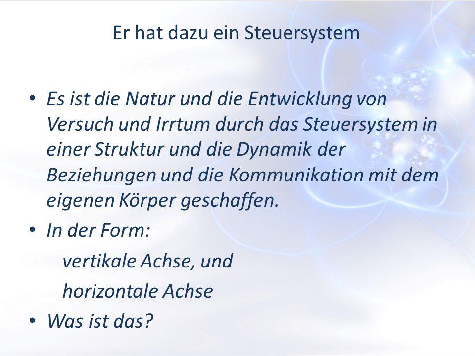 Er hat dazu ein Steuersystem Es ist die Natur und die Entwicklung von Versuch und Irrtum durch das Steuersystem in einer Struktur und die Dynamik der Beziehungen und die Kommunikation mit dem eigenen Körper geschaffen.
