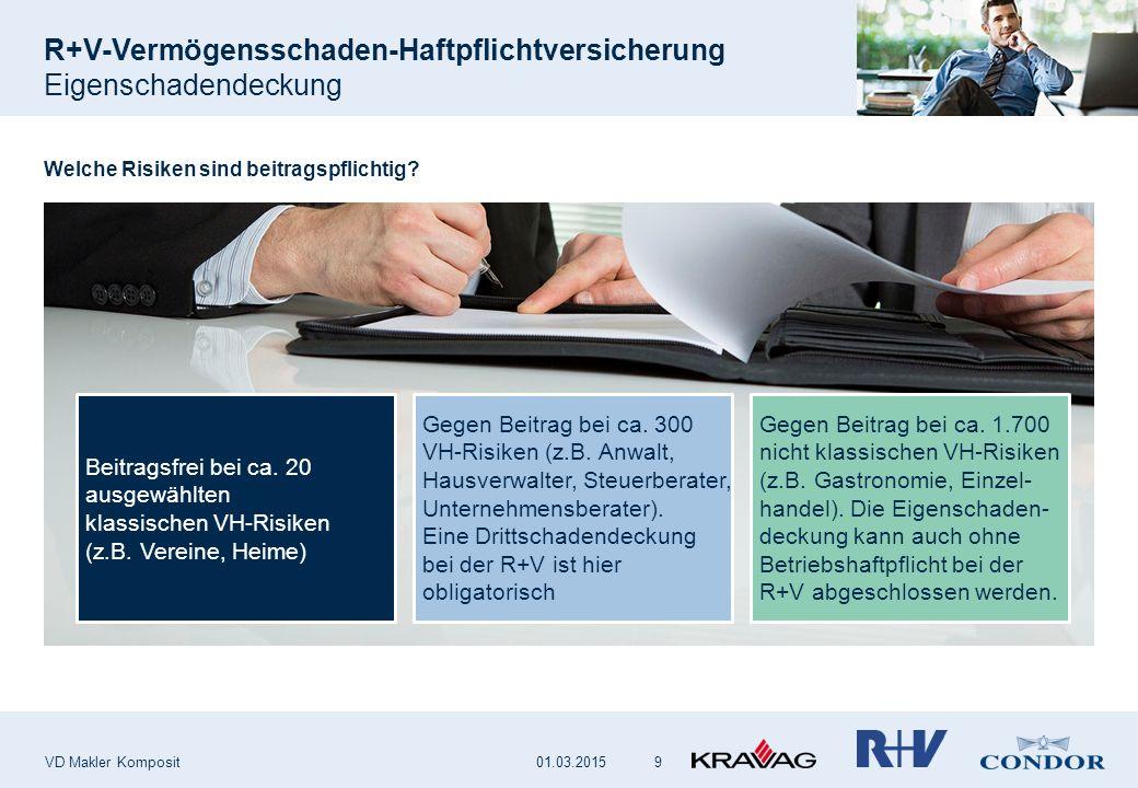 R+V-Vermögensschaden-Haftpflichtversicherung Eigenschadendeckung VD Makler Komposit 9 Welche Risiken sind beitragspflichtig? Beitragsfrei bei ca. 20 a