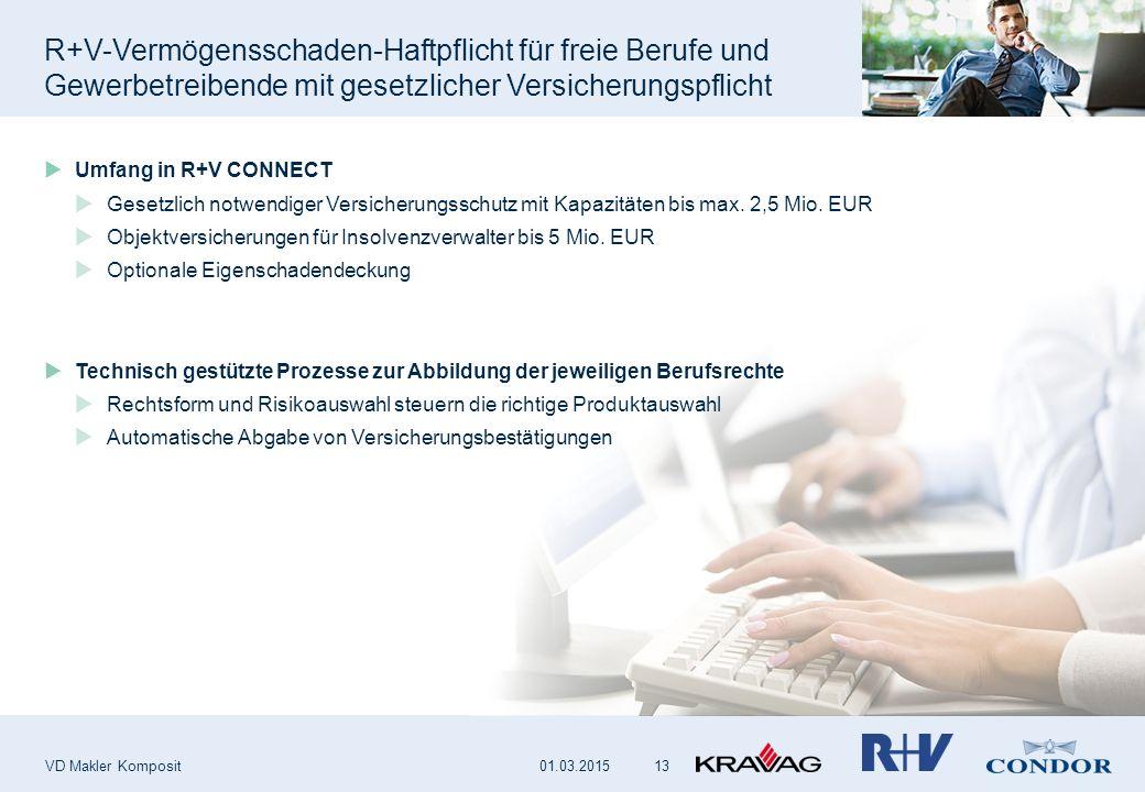R+V-Vermögensschaden-Haftpflicht für freie Berufe und Gewerbetreibende mit gesetzlicher Versicherungspflicht VD Makler Komposit 13  Umfang in R+V CON