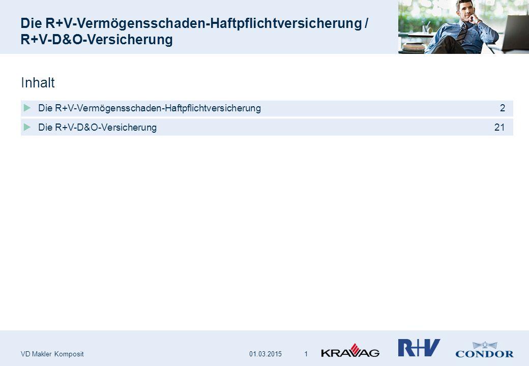 VD Makler Komposit 1  Die R+V-Vermögensschaden-Haftpflichtversicherung 2  Die R+V-D&O-Versicherung 21 Inhalt 01.03.2015
