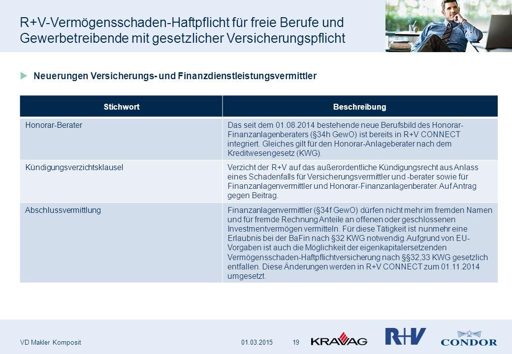 R+V-Vermögensschaden-Haftpflicht für freie Berufe und Gewerbetreibende mit gesetzlicher Versicherungspflicht VD Makler Komposit 19  Neuerungen Versic